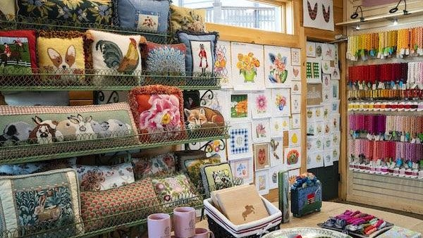 Stitching Fox needlepoint shop in Mill Spring.