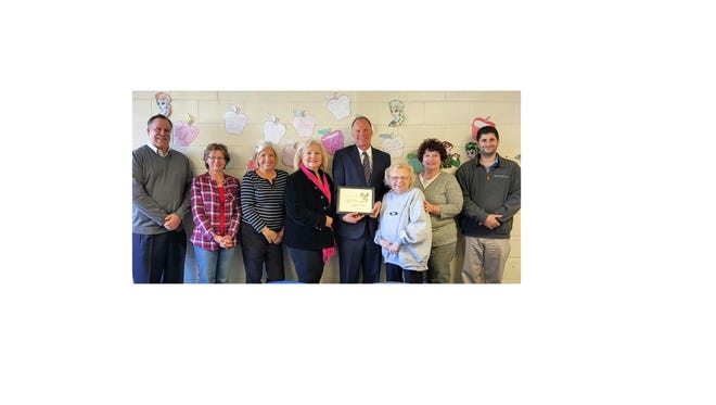 (From left) Chris Volker, Boys & Girls Club of Vineland; Sandy Firman, Vineland Downtown Improvement District; Sue Sauro, Elwyn New Jersey; Diane Kolman, Hug-a-Bear Foundation; Russell Swanson, executive director of Vineland Downtown Improvement District; B.J. Giercyk, Tiny Tim Foundation; Rosemary DeQuinzio, Catholic Charities; and Mike Regenelli, Southwest Council; attended the Vineland Service Clubs Council meeting.
