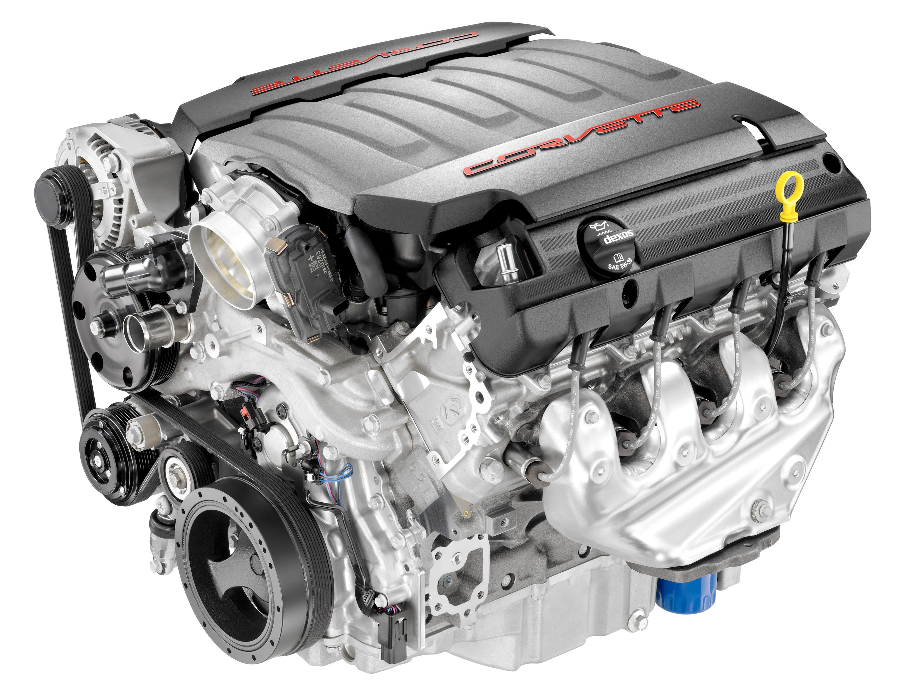"""The 2014 Corvettes """"LT-1"""" 6.2-liter V-8 -- a new version of the Chevy small-block featuring variable valve timing and direct injection."""