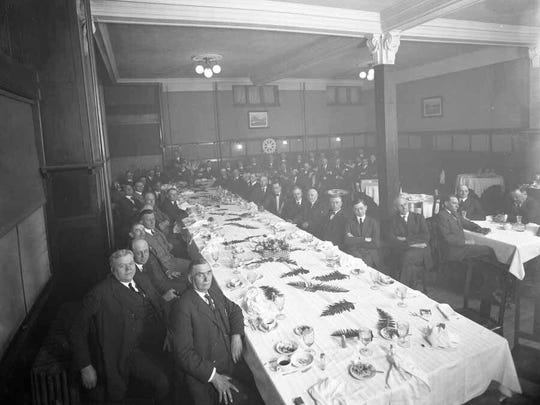 An early dinner of the Great Falls Rotary Club, which was chartered in 1916.