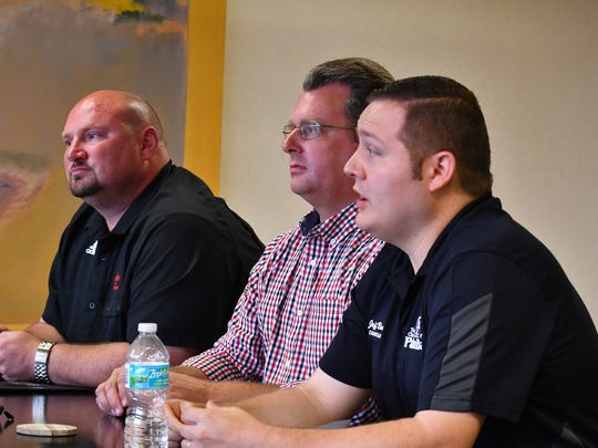 Florida Today Candidate forum for Palm Bay Seat 5, left to right,  Aaron Parr, Erik Sandberg and incumbent Jeff Bailey.