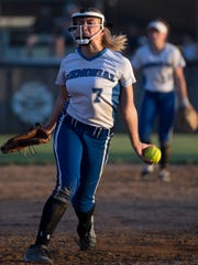 Memorial's Hannah Gantner delivers a pitch against Heritage Hills during the 3A IHSAA Boonville Sectional Thursday evening.