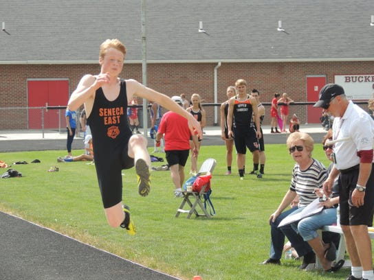 Seneca East junior Riley Kalb competed in the long