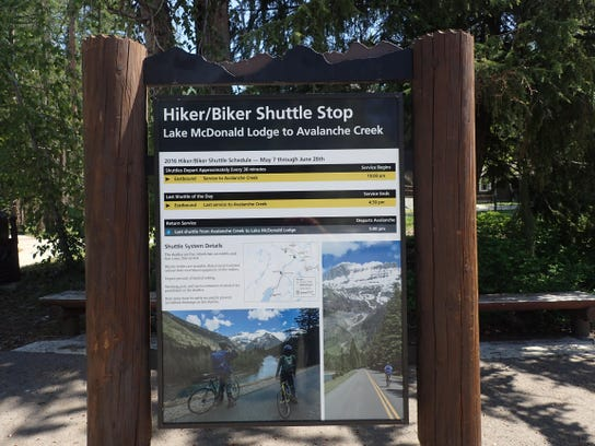 Signage explains the new hiker-biker shuttle. Grisak