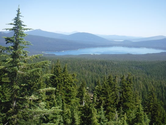 Cowhorn Mountain - view N to Crescent Lk from PCT on Cowhorn Mtn