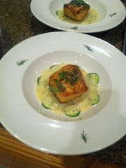 Christina Morales this salmon dish during her studies at Rancho Cielo Drummond Culinary Academy in Salinas.