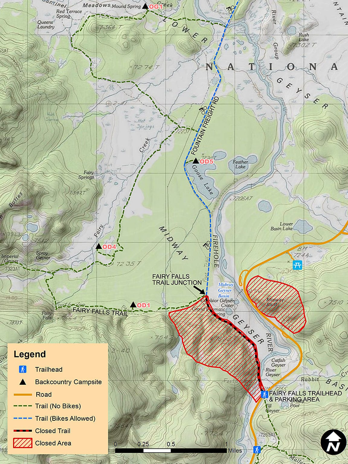 Area closures around the south side of Grand Prismatic Spring force visitors to lengthen their hikes.