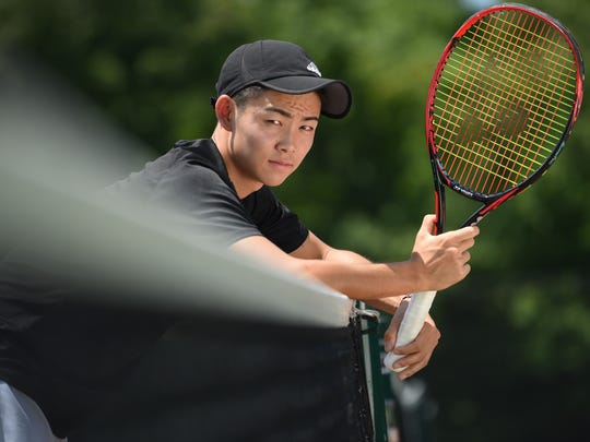 Portrait of Cresskill's Chikaya Sato, The Record Boys Tennis Player of the Year. Photographed on June 13th, 2017.