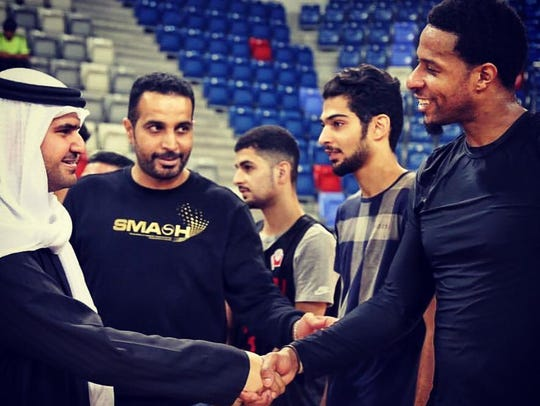 Mildon Ambres (right) played for Al Najma of the Bahrain