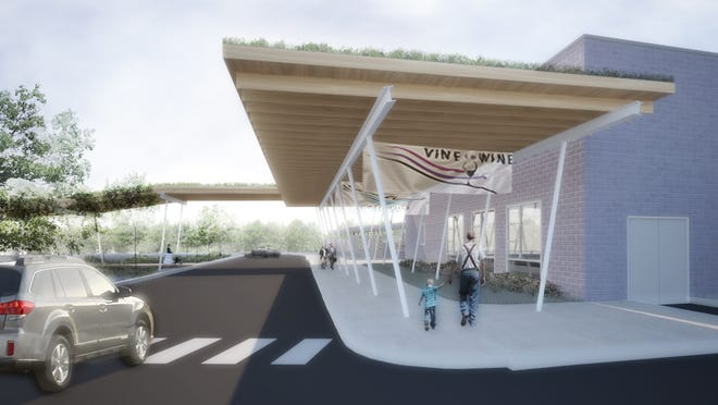 The Finger Lakes Museum's Discovery Campus, seen in this rendering, will have a covered entrance and walkway with a living green garden roof that is designed to protect visitors from inclement weather while being dropped off or picked up. It also will lessen the impact of stormwater runoff, officials said.