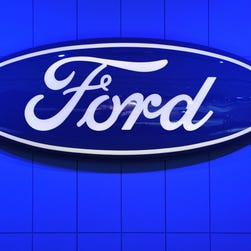 (FILES) This January 14, 2014 file photo shows the Ford Motor Company logo at the North American International Auto Show  in Detroit, Michigan. US automaker Ford said December 18, 2014 that it was expanding its recall of vehicles equipped with faulty Takata airbags nationwide, as required by US safety regulators, and in other countries. The action will add 447,310 vehicles to the recall for defective Takata driver-side airbag inflators, bringing the total to nearly 539,000, Ford said. Certain airbags made by the Japanese auto parts company can deploy with excessive force, sending shrapnel into drivers and passengers. At least five driver deaths, four in the US and one in Malaysia, reportedly have been linked to the problem.   AFP PHOTO/Stan HONDASTAN HONDA/AFP/Getty Images ORIG FILE ID: 536264615