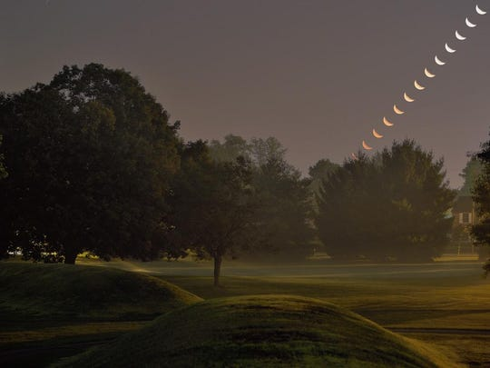 This was the view Sept. 7, 2015 toward the northeast of moonrise at the Octagon Earthworks in Newark. The images were taken at three-minute intervals beginning at 2:11 a.m.