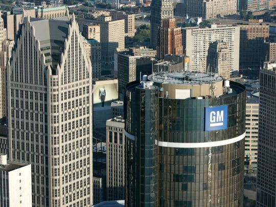 An aerial view of GM's headquarters in downtown Detroit, Michigan.