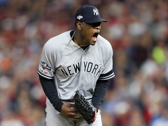 Oct 7, 2019; Minneapolis, MN; New York Yankees pitcher Luis Severino reacts during the second inning of Game 3 of the 2019 ALDS against the Minnesota Twins at Target Field. Photo Credit: Jesse Johnson - USA TODAY Sports)