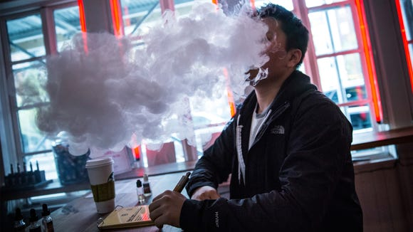 Inhaling and exhaling the vapor produced by electronic cigarettes is sometimes called vaping.