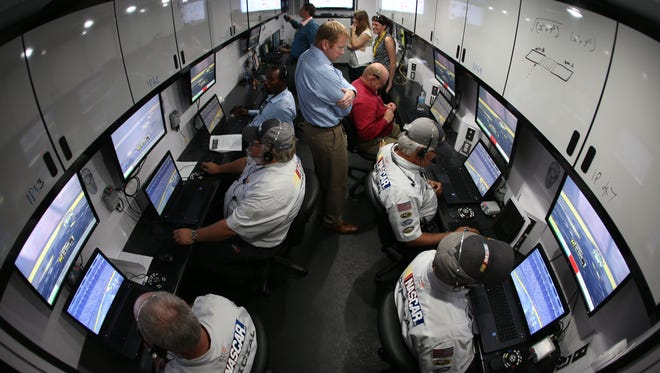 The new officiating command center is shown Oct. 11 at Charlotte Motor Speedway during its dry run at the end of last season.