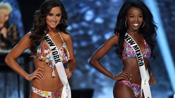 Miss New York USA Serena Bucaj and Miss New Mexico USA Naomie Germain at the 2016 Miss USA pageant preliminary competition in June.