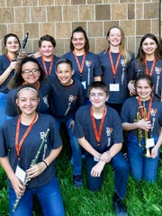 Members of the Port Clinton Middle School Honors Band, are, in front, Isabella Cross, Logan Dale, and Grace Smothers.   In the middle are DaNasia Jackson, Cooper Tilson. In back are  Autumn Grindstaff, Devin Appleman, Arianna Carter, Akella Nardecchia and Paige Smothers.