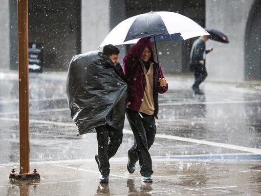 Downtown Phoenix rain