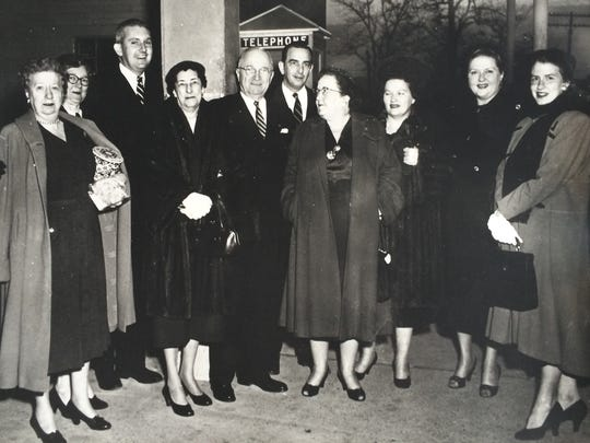 President Harry S. Truman (fifth from the left) is shown during a stopover at the train station in Alexandria after his presidency (circa 1962) with (from left) Bess Truman, unknown, Hunter Pearson, Mrs. Clarence Pierson (Patty), E.C. Brazelton, Mrs. John H. Overton (Ruth), Mary Elizabeth Overton Brazelton, Miss Ruth Overton and Mrs. Hunter Pierson (Lee). Liz Overton, who contributed the photo, said the Trumans and her grandparents were close friends. Her grandfather, Sen. John Overton (who died in office in 1948), was a senator when Truman was president.