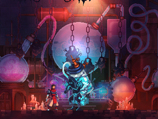 Dead Cells' Collector takes the cells you acquire, which you can spend to improve your character's skills and powers.