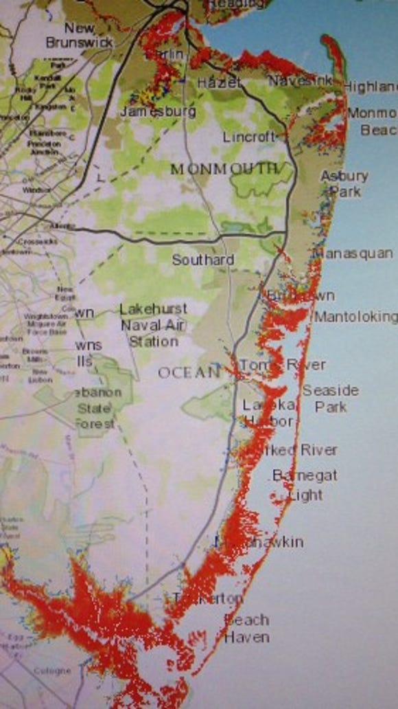 The potential storm surge from a Category 4 hurricane