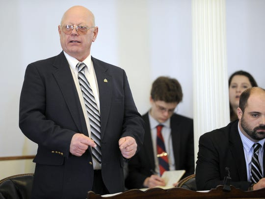 State Sen. Norm McAllister, R-Franklin, who faces criminal sex charges that could send him to prison for life, pleads his case to his Senate colleagues before the legislative body voted to suspend him Jan. 6 at the Statehouse in Montpelier.