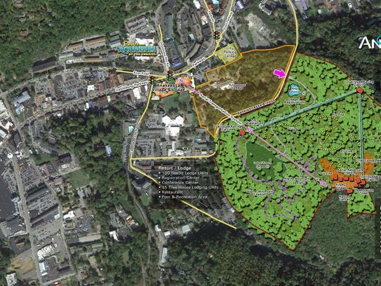 Map shows location of luxury treehouses, ziplines,