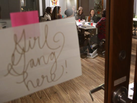 A group of women gather at Gravitate in Des Moines