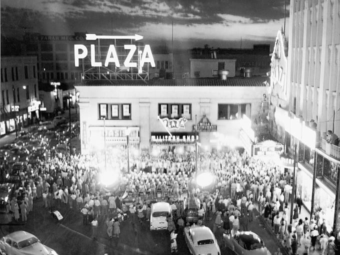 "A shot of the Plaza Theatre in 1953 before the showing of ""Take the High Ground"" which will show this year 1 p.m. Saturday Aug. 4 at the El Paso Museum of Art."