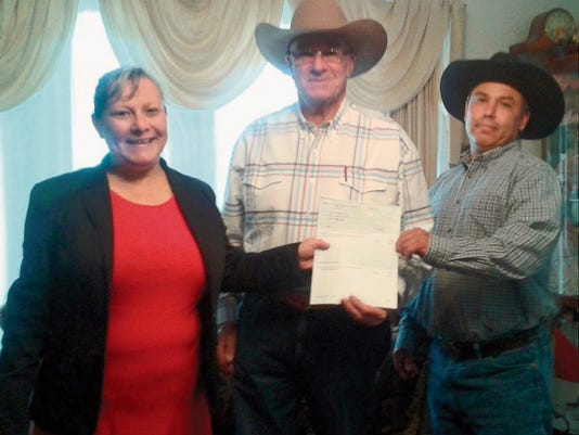 """Submitted Photo   The Deming Elks Lodge 2750 made a recent donation to the Agape Rehabilitation and Prevention Center, part of the Redeemer Apostolic Church. The 1,000 check from gaming charity monies was recently presented to Pastor George Gillespie. According to their website, It is the mission of Agape Rehabilitation Prevention Center to provide hope to the men of today who sincerely desire a change in their lives. To those seeking by faith in God and the power of His spirit to repair the shambles their lives have become as a result of drug and alcohol abuse.  An addict in need of rehabilitation resides at the home for a period of six months to a year. The length of time is determined on how the individual responds to the program. Although the individual is encouraged to stay in the programs men's home until such a time as the director feels he is ready to leave. Gaming Accountant Tammy Zumwalt said: """"It is a pleasure to present this check to this very worthwhile cause. Almost every family has been touched in some way by addiction. The Elks are proud to be able to help this local organization provide assistance to those in need."""" Pictured, from left, are: Zumwalt, Pastor George Gillespie and David Amaya."""