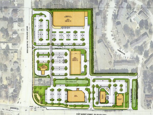 This is a recent concept for the proposed shopping center on the northeast corner of East Market Street and Mount Zion Road in Springettsbury Township. The developer, Spring Lane LLC, has asked for 12.5 acres to be rezoned for the proposed shopping center.
