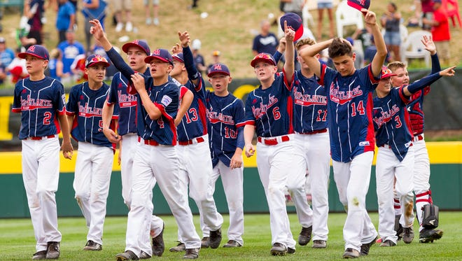 Maine-Endwell celebrates its 2-1 victory over South Korea's East Seoul in the Little League World Series Championship game Aug. 28 in Williamsport, Pennsylvania.
