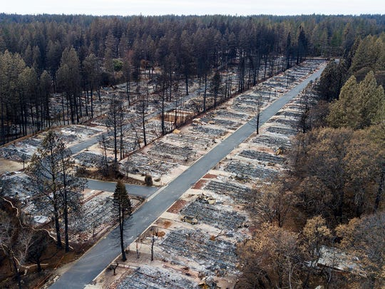 Homes leveled by the Camp Fire line the Ridgewood Mobile Home Park retirement community in Paradise, Calif., are seen on Monday, Dec. 3, 2018.