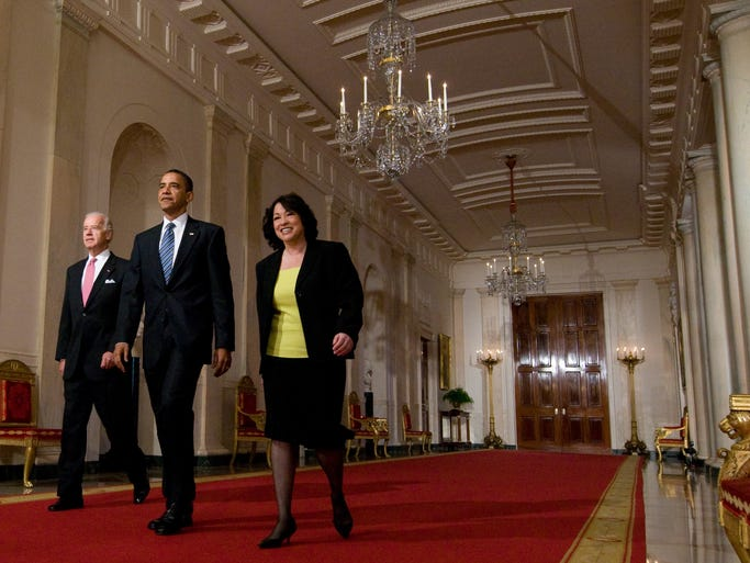 President Obama walks alongside his Supreme Court nominee, appeals court Judge Sonia Sotomayor, and Vice President Biden prior to introducing Sotomayor in the White House on May 26, 2009. This week marks Sotomayor's fifth anniversary on the Supreme Court.