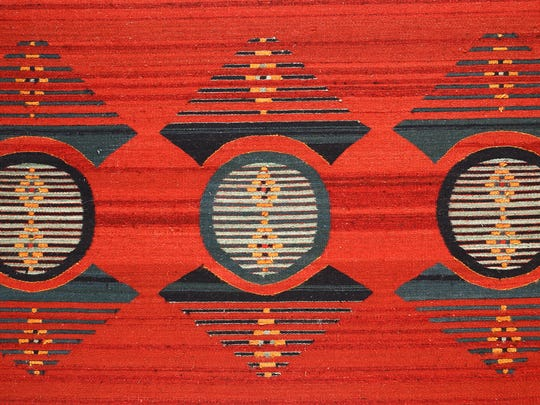 """Escudo Triple Red,"" fiber tapestry by Wence Martinez at Martinez Studio."