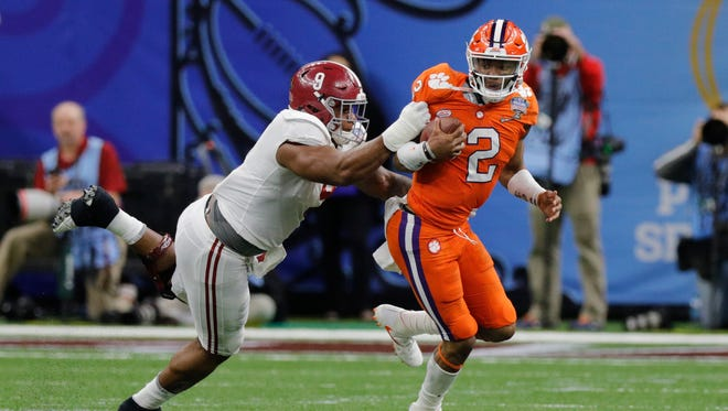 Alabama defensive lineman Da'Shawn Hand pressures Clemson quarterback Kelly Bryant during the third quarter of the 2018 college football playoff semifinal at Mercedes-Benz Superdome. Hand finished his Alabama career with nine sacks.