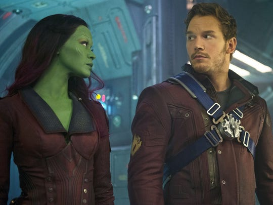 "Zoe Saldana (left) and Chris Pratt in a scene from the motion picture ""Guardians of the Galaxy."""