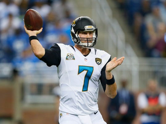 Jacksonville Jaguars quarterback Chad Henne throws against the Detroit Lions in the first half of a preseason NFL football game at Ford Field in Detroit, Friday, Aug. 22, 2014. (AP Photo/Rick Osentoski)