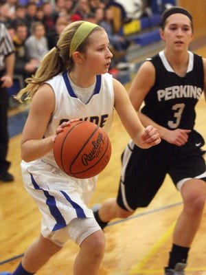 Clyde's Heidi Marshall drives to the basket against Perkins' Hallee Smith.