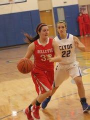 Bellevue's Olivia Baptista drives to the basket against Clyde's Kennedy Arndt.