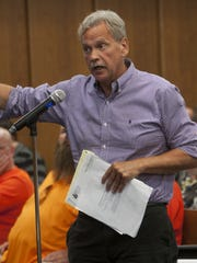 Jeff Tittel, director of the New Jersey Sierra Club, speaks against New Jersey Natural Gas' proposed pipeline through the Pinelands at a BPU meeting in Manchester in July 2015.