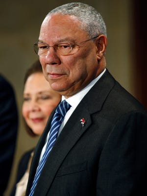 """FILE — Colin Powell and his wife, Alma, attend an education event in Washington where President Barack Obama spoke, March 1, 2010. An aide to Powell has confirmed the authenticity of emails in which the former secretary of state called Donald Trump a """"national disgrace"""" and an """"international pariah,"""" leaked online by hackers on Sept. 13, 2016. (Luke Sharrett/The New York Times)"""