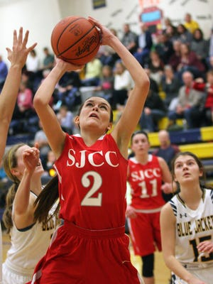 Adrienne Wehring's contributions as a scorer, rebounder and defender are key for SJCC.