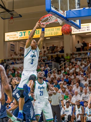 FGCU sophomore Rayjon Tucker's two-hand slam during Sunday's home win against UNF in the ASUN title game rated seventh on that night's top 10 SportsCenter plays.