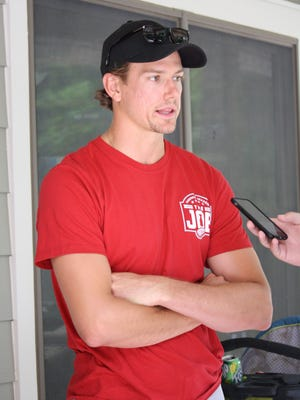 Detroit Red Wings defenseman Danny DeKeyser talks with media during a youth hockey event Tuesday, July 27, 2017, at Echo Grove Camp near Oxford.