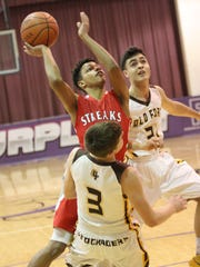 Old Fort's AJ Steyer takes a charge on Mikey Moore's