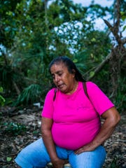 "Jesusita ""Susanna"" Rodriquez takes a moment as she sits in her camp at the end of the day in Immokalee on Wednesday, March 7, 2018. Rodriquez was left homeless after Hurricane Irma hit Southwest Florida six months ago."