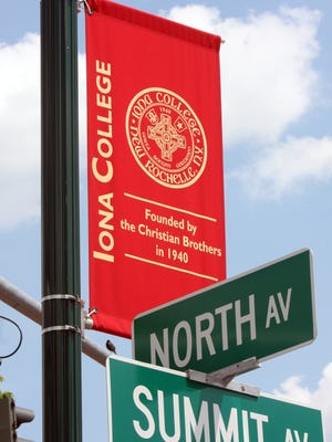 An Iona College sign seen on North Avenue in New Rochelle.
