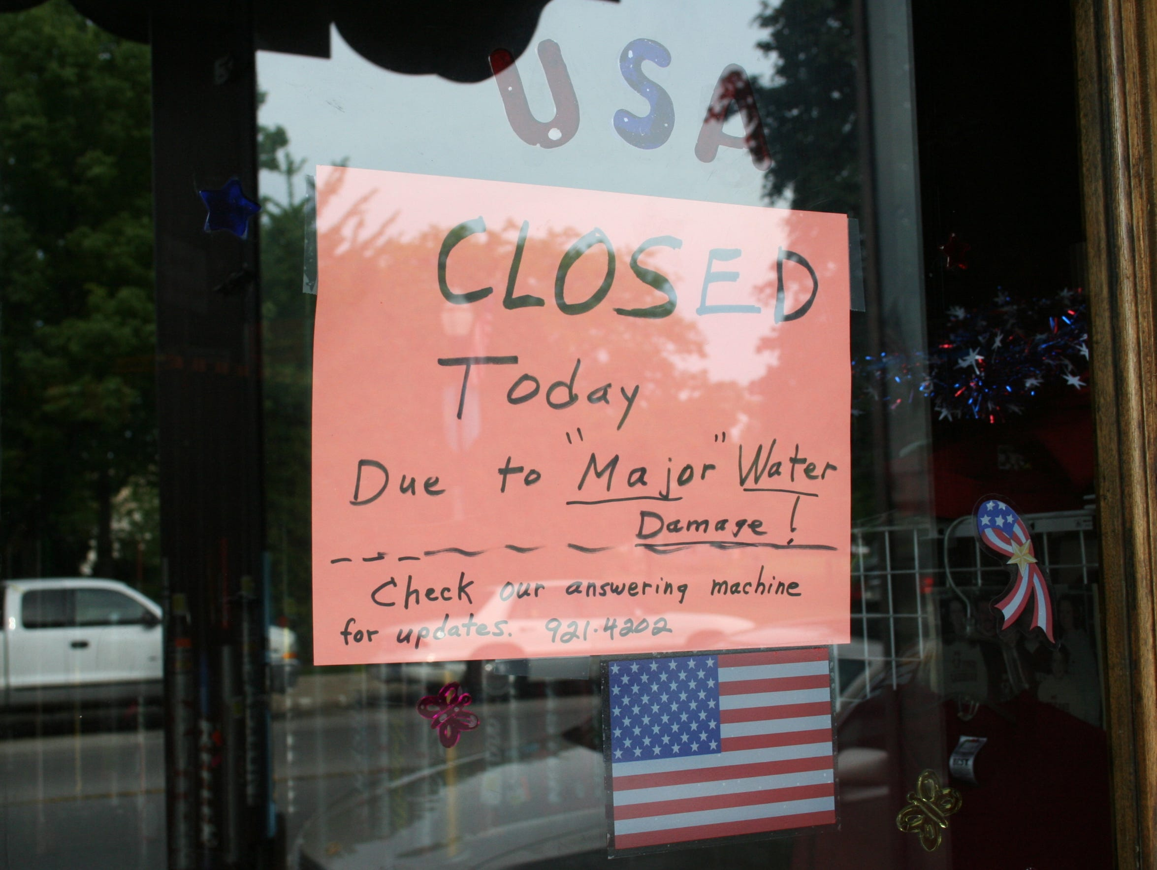 Flooding temporarily closed Jack's Team Sports at 179